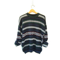 SLOUCHY sweater Retro Blue & Green striped 90s Chunky Knit vintage Boyfriend shirt Wide Stripe Pullover thick knit jumper Womens Mens Medium