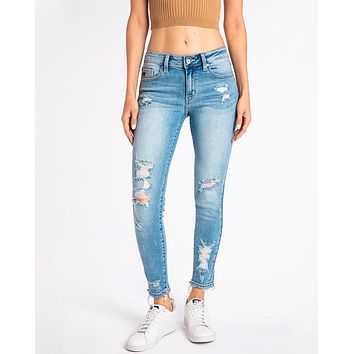 Lizzy Distressed Light Wash Faded High Rise Skinny Jeans