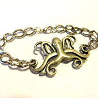 Cute Octopus Bracelet, Silver Octopus Connector, Chain Bracelet, Ocean Inspired Jewelry, Octopus Gift