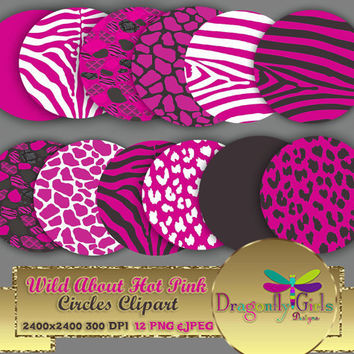 """80% OFF Sale WILD About Hot Pink 8"""" Clip Art, commercial use, digital scrapbook papers, vector graphics, printable, Instant Download,"""