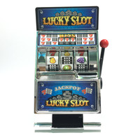 Lucky Slot Jackpot Mini Slot Coin Bank with Spinning Reels