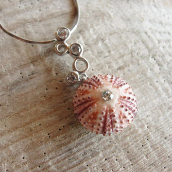 Sterling Silver Urchin Necklace with Cubic Zircon Pink Sea Urchin Sterling Silver Necklace One of a Kind