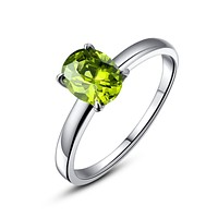 Stainless Steel Oval Green Cubic Zirconia Solitaire Ring