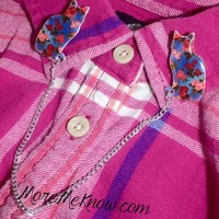 Shabby Chic Floral Cat Silhouette Collar Clips/Cardigan Clips