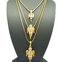 """Gold Tone Micro Praying Baby Angel Pendant 24"""",30"""",36"""" Box Chain 3 Necklace Set RC1102G"""