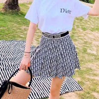 """Dior"" Women Fashion Casual Plaid Letter  Elastic Band Short Skirt"