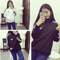 """Adidas"" Fashion Unisex Loose Clover Print Three Bars Baseball Clothing Zip Sports Tops"