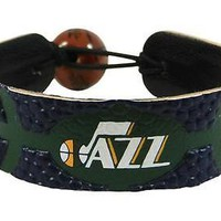 Utah Jazz NBA Team Color Basketball Leather Bracelet