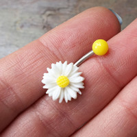 White Daisy Flower Belly Button Jewelry Belly Ring