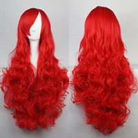 Womens/Ladies 80cm Pure Red Color Long CURLY Cosplay/Costume/Anime/Party/Bangs Full Sexy Wig (80cm,Curly Red))