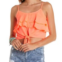 Tie-Front Button-Up Ruffle Crop Top by Charlotte Russe