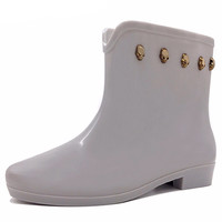 Fashion Skull Rain Boots Slip Resistant Rubber for Woman Slip-On Water Shoes