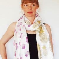 Gold Pineapple Scarf - Berry