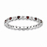 Sterling Silver Stackable Expressions Garnet & Diamond Ring: RingSize: 7