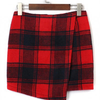 Plaid Asymetric Hem Skirt