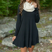 FASHION LONG-SLEEVED BLACK LOOSE DRESS