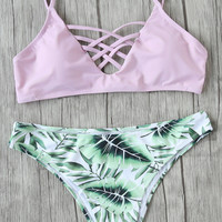Pink Leaf Print Mix & Match Bikini Set