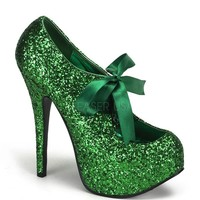Bordello Green Glitter Stiletto Platforms