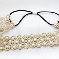 Lace headband with faux pearls, Wedding Hair Accessories, Bridal Hair Accessory