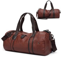 2018 Men Luggage Leather Travel Shoulder Bags Duffle Gym Bags Tote Bag Large Capacity