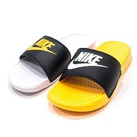 Nike Benassi Shower Trending Women Men Casual Sandal Slipper Shoes White/Yellow I-ADD-MRY