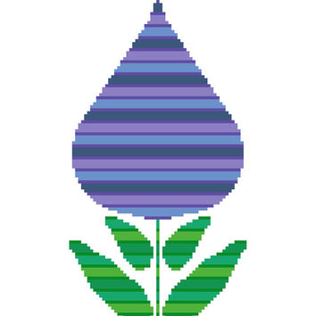 Striped spring tulip. Modern cross stitch pattern of a tulip shaped flower in beautifully coloured stripes. Contemporary cross stitch design