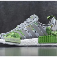 Gucci x Adidas NMD R_1 Boost GG Green Flower Sneakers
