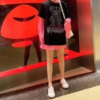 """Philipp Plein"" Women Fashion Cute Short Sleeve Round Neck Loose Diamond T-shirt Long Sleeve Net Yarn Bottoming Shirt"