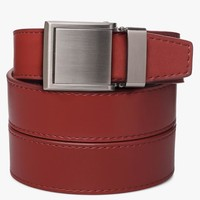 Red Leather Belts with Square Buckle