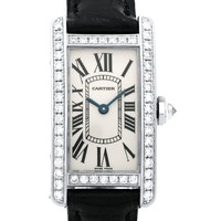 Cartier ladies White Gold Diamond Tank Americaine Quartz Wristwatch