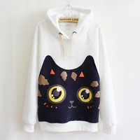 Cat cartoon affixed cloth hooded sweater  T52788