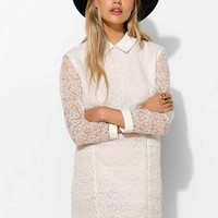 Little White Lies Lace Collared Dress- White
