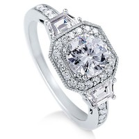 Sterling Silver Ring Round Cubic Zirconia CZ Ring 2.1 ct.tw - Nickel Free Engagement Wedding Ring