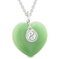 Yin Yang Balance Powers Puffy Magic Heart Amulet Green Quartz Pendant 22 inch Necklace