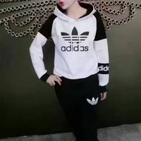 """Adidas"" Fashion Casual Multicolor Clover Letter Print Long Sleeve Hooded Cotton Sweater Set Two-Piece Sportswear"