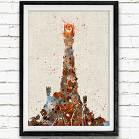 Eye of Sauron, Lord of the Rings Watercolor Art Print, Baby Room, Nursery Wall Art, Home Decor, Not Framed, Buy 2 Get 1 Free!