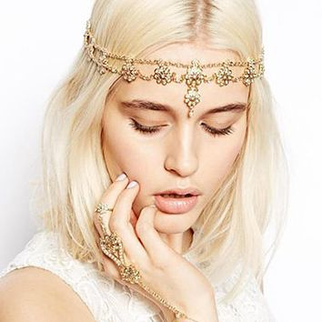 Fashion Chic Flower Crystal Pearl Gold Head Bands Women's Trendy Prom Metal Head Chain Forehead Headpieces Wedding Hair Jewelry