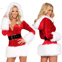 Hot Sale Hooded Santa Claus Xmas Dress Adult Women Party Dress Sexy Christmas Costume