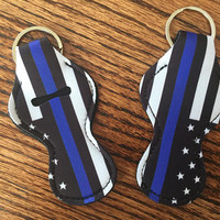 Back the Blue Police Think Blue line  Chapstick Holder Wholesale Party favor Other colors available Neoprene Keychain