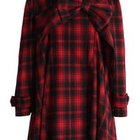 Red Tartan Dolly Dress with Big Bow Red