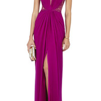 BCBG Tamara Shirring-Detail Lace Yoke Gown