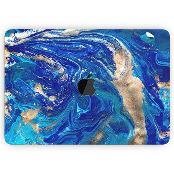 """Vivid Blue Gold Acrylic - Skin Decal Wrap Kit Compatible with the Apple MacBook Pro, Pro with Touch Bar or Air (11"""", 12"""", 13"""", 15"""" & 16"""" - All Versions Available)"""