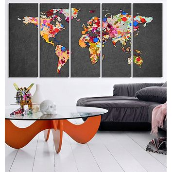 Large Wall Art Canvas Print Ink Splash WORLD MAP Art Drawing Watercolor World Map 5 PANEL