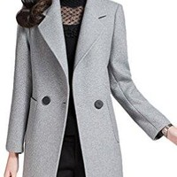 Youhan Women's Fitted Cashmere Overcoat Woolen Trench Coat