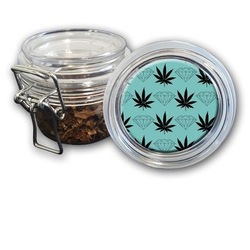 Airtight Stash Jar with Silicone Seal - Pot Leaves And Diamonds - Food-Grade Plastic with Locking Wire Top - Smell Proof Hermes Container