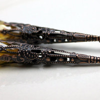 Earring Dangle, Pendant, Drop, Vintage Style Dramatic Medium Yellow Crystal Teardrop with Filigree Copper Bead Cone Cap - 2 Pieces