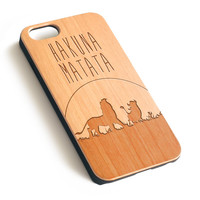 Hakuna Matata Disney Natural wood iPhone case laser engraved iPhone case WA034