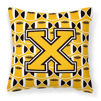 Letter X Football Black, Old Gold and White Fabric Decorative Pillow CJ1080-XPW1414