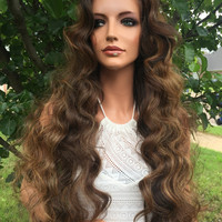 """CLEARANCE Almond Brown Highlighted 26"""" Wavy Lace Front Wig"""