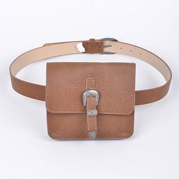 Brown Vegan Leather Fanny Pack